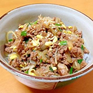 豆もやしと挽肉の餡かけ丼(/ω\)