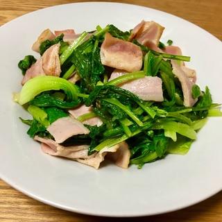 小松菜と青梗菜のベーコン炒め