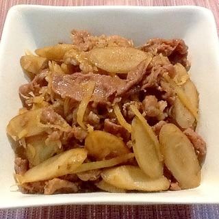 生姜たっぷり‼︎牛バラ肉とごぼうのしぐれ煮