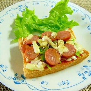 フランクフルトと野菜と雑穀のピザ風チーズトースト♪
