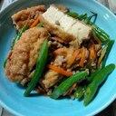 厚揚げと豚のひき肉とインゲンの炒め物