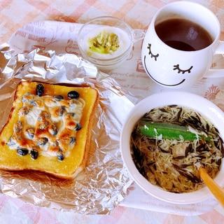 おせちリメイク 栗きんとん&黒豆トースト