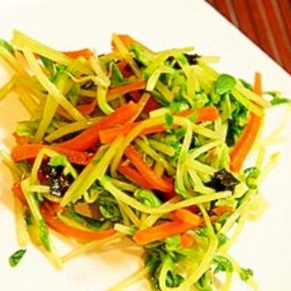 お野菜たっぷり、豆苗とニンジンの焼き海苔和え