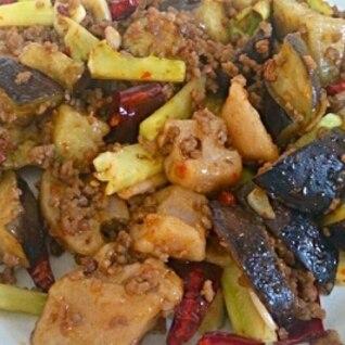 ピリ辛☆レンコンとナスの挽肉炒め