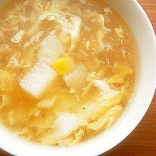 シャキシャキ長芋♪コーンの卵スープ♪