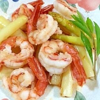 ホワイトアスパラと海老の炒め物