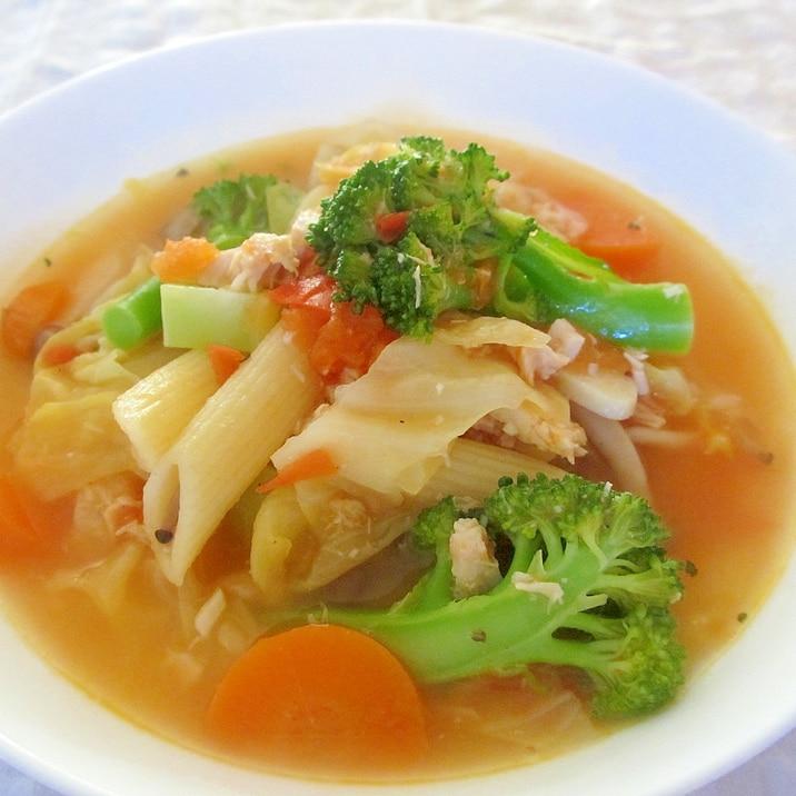 ツナキャベツブロッコリーのペンネ入りトマトスープ