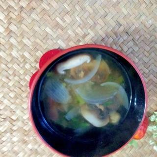 母の日に茸と新玉ねぎの味噌汁