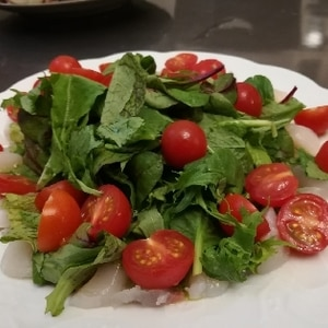 白身魚のカルパッチョ☆バジルソース