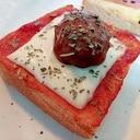 スライスチーズとミートボールのトースト