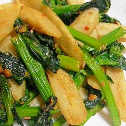 アスパラ菜とゴボウの味噌炒め