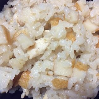 鶏肉とひら天とごまの炊き込みご飯