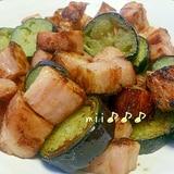 茄子と厚切りベーコンの炒め物