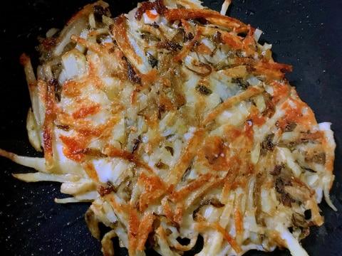 ホットプレートde高菜のチーズポテト蕎麦粉ガレット