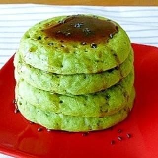 青汁で簡単ヘルシー☆抹茶風豆乳ホットケーキ♪