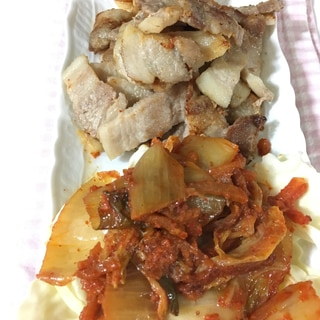 サムギョプサルキムチ添え&キムチ炒飯