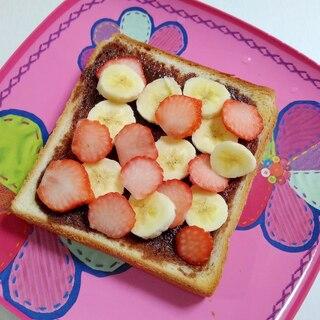 おやつトースト☆いちごとバナナのチョコトースト