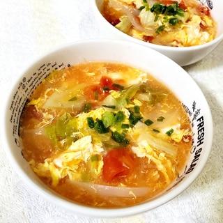 トマトとキャベツの春雨スープ