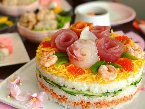 ひな祭りはやっぱり可愛く♪☆ちらし寿司ケーキ☆
