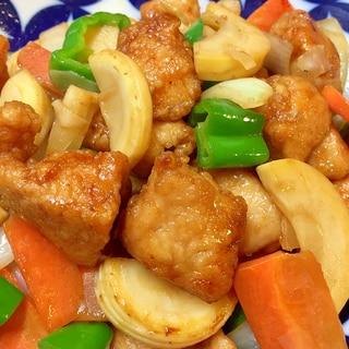ご飯がススム♪鶏唐揚げと筍のオイスターソース炒め