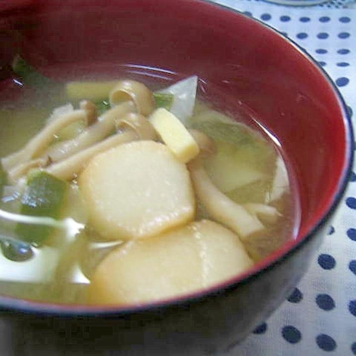 お麩と豆苗のお味噌汁☆
