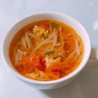 もやしとトマトの中華スープ