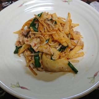 豚肉と長芋のキムチ炒め