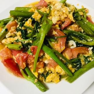 簡単!空芯菜とトマトのエスニック卵炒め♫