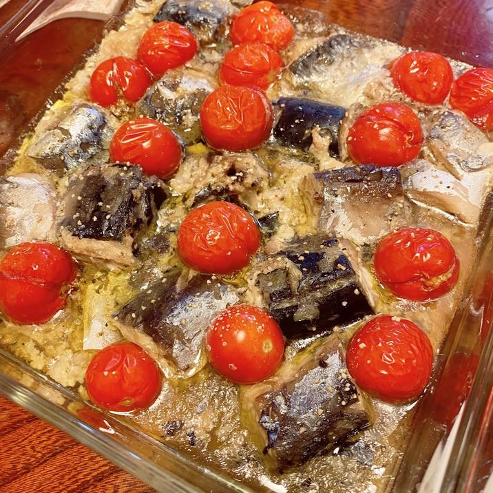 サバ缶とミニトマトのガーリック焼き