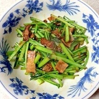 小松菜とベーコンの醤油炒め
