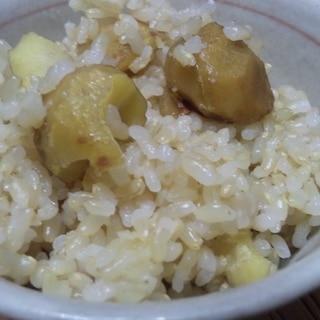 玄米で栗ご飯