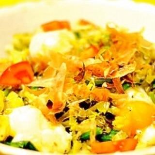 野菜炒め&半熟卵