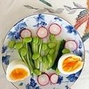 胡瓜、ゆで卵、ラディッシュ、枝豆