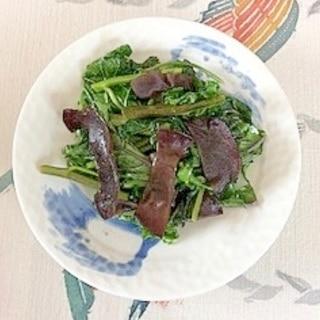 空芯菜、ケール、きくらげの炒め物