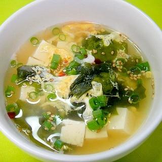 豆腐とわかめの中華卵スープ