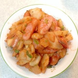 菊芋とソーセージのケチャップ炒め