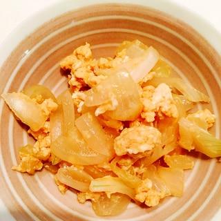 新玉ねぎと卵炒め