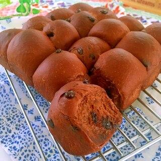 ココア☆チョコチップちぎりパン(一次発酵までHB)