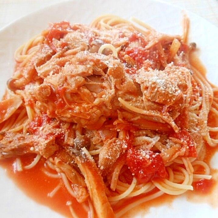★きのこたっぷり鶏もも肉トマト煮パスタ★