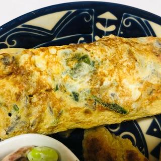 舞茸とほうれん草の卵焼き