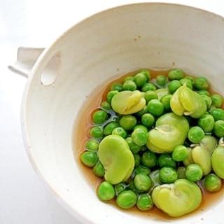 そら豆とグリーンピースの翡翠煮