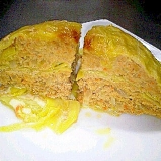 レンジで簡単☆キャベツとひき肉のミルフィーユ
