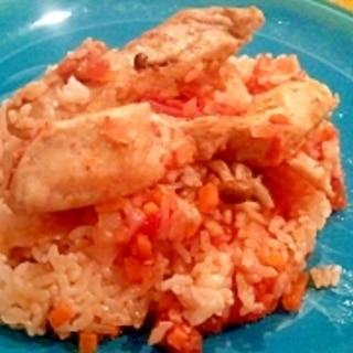 炊飯器にトマト缶で簡単チキンライス