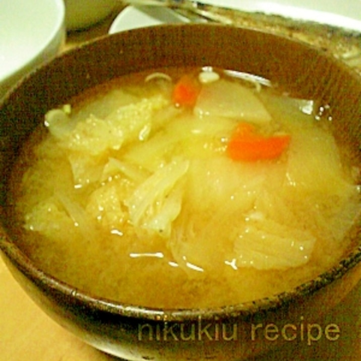 の 味噌汁 白菜