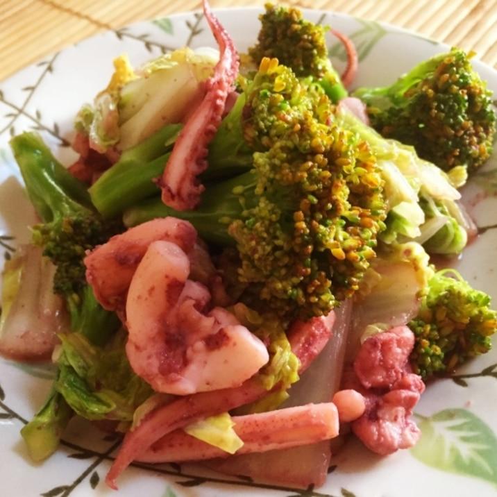 イカと白菜とブロッコリーの中華炒め