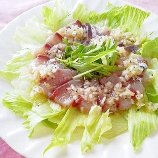 お刺身サラダ(簡単・自家製玉ねぎドレで・・・)
