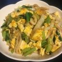 にんにく、小松菜、白菜、卵の焼きうどん