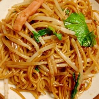 【麺料理】油分オフ具だくさんベーコン小松菜焼きそば