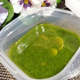 冷凍でも( ´  ` )ガーリック醤油バジルソース