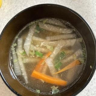 残った餃子のたねで中華スープ